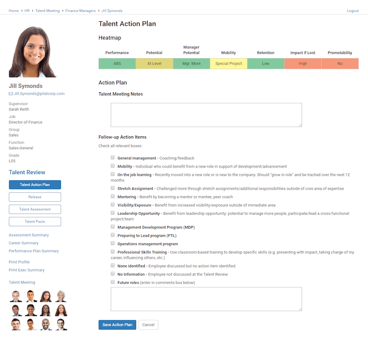 Talent Action Plan Screenshot | Talent Management | Pilat